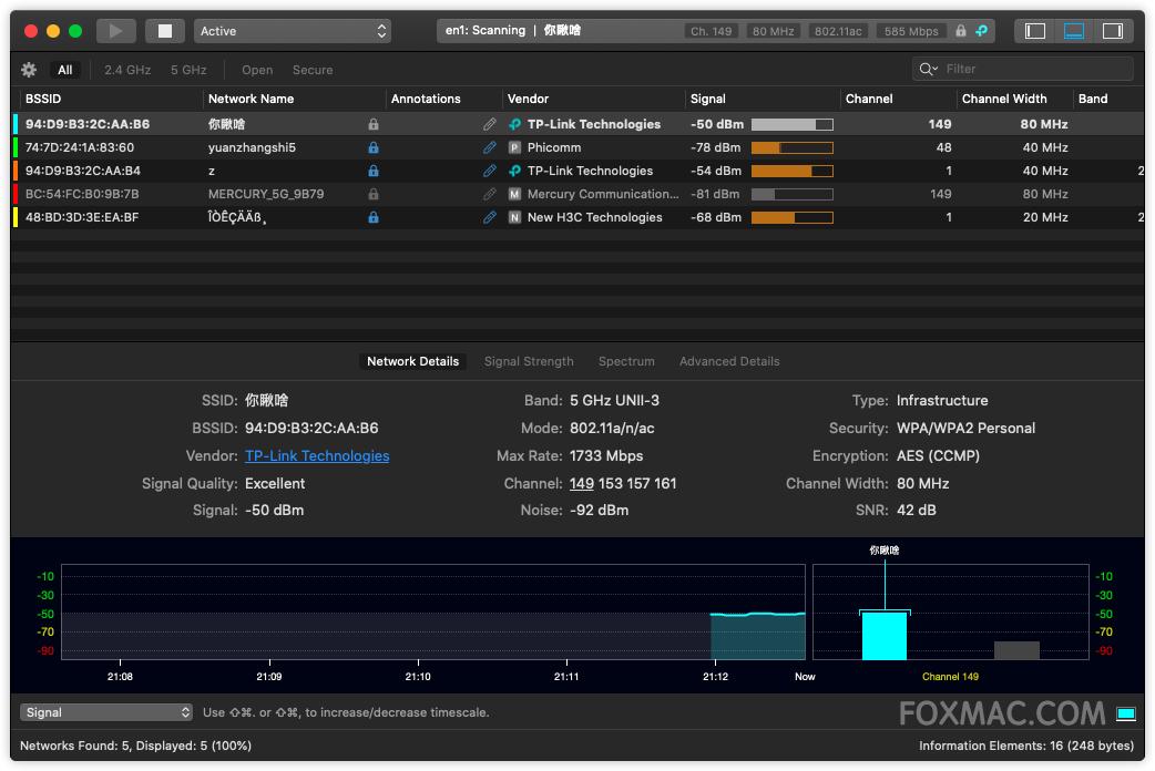 WiFi Explorer 2.6.1 - 强大的WiFi资源管理器